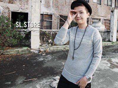 SL Store【CS50801】韓版冬季雪花樣式設計圓領毛衣.淺灰/黑/M/L/XL