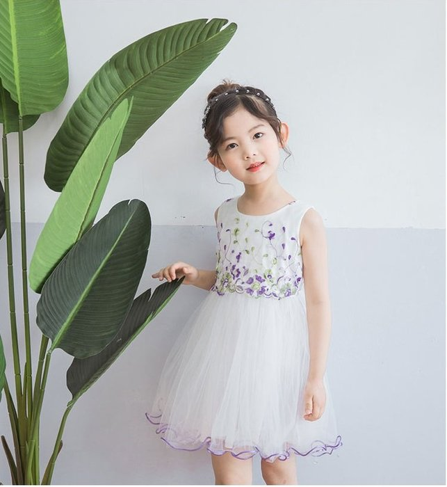 現貨 女童紫色繡花網紗洋裝18MM150615