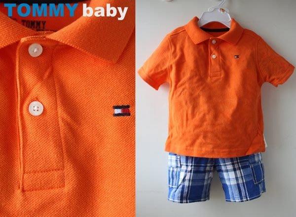 【TOMMY HILFIGER】100% 全新正品 短袖 POLO衫 + 格子短褲 彌月禮 二件組【12M-18M】*橘色*