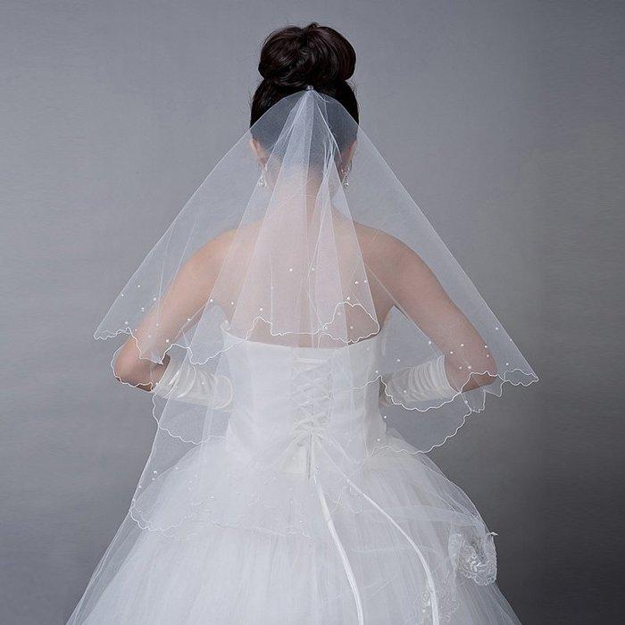 凡妮莎新娘頭紗 韓式珍珠頭紗1.5米 婚紗 禮服 飾品