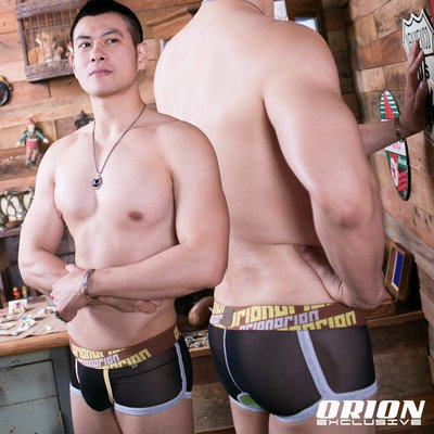 【ORION】男內褲極限性感透明拼布平口 單件399$ 玩味拼布 創新素材 舒適無比 超彈吸濕排汗-8435GGR