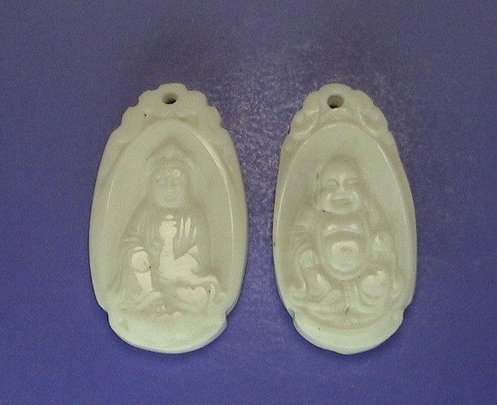 海中天 ~天然硨磲 佛教七寶之一 觀音墜子 財神墜子二個一起賣A01~ 起標.無底價