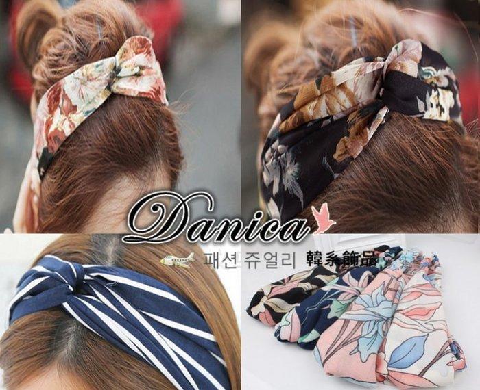 髮帶 髮飾 現貨 韓國連線 秒殺款 氣質 甜美 交叉 造型 百合 花朵 條紋 幾何 K7720  Danica 韓系飾品