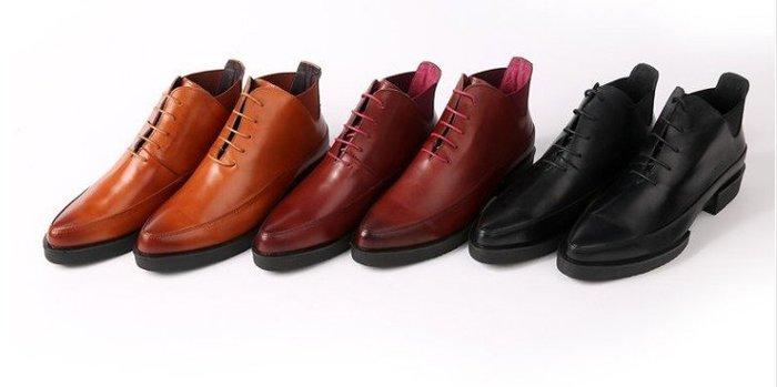 爵式正品男士牛皮皮靴真皮低筒靴短靴正裝商務靴系帶尖頭英倫男靴