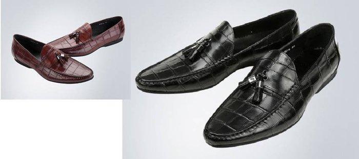 爵式新品牛皮商務休閒皮鞋高檔蜥蜴紋休閒鞋尖頭套腳男鞋潮懶人鞋