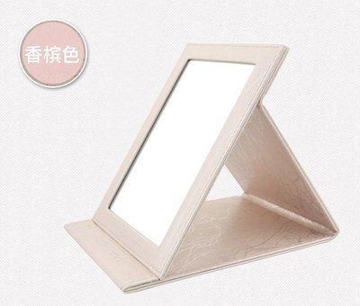 【 愛來客 】超大香檳色MAKE-UP FOR YOU 折疊化妝鏡巧妝鏡進口PU皮質 鏡面防霧化玻璃
