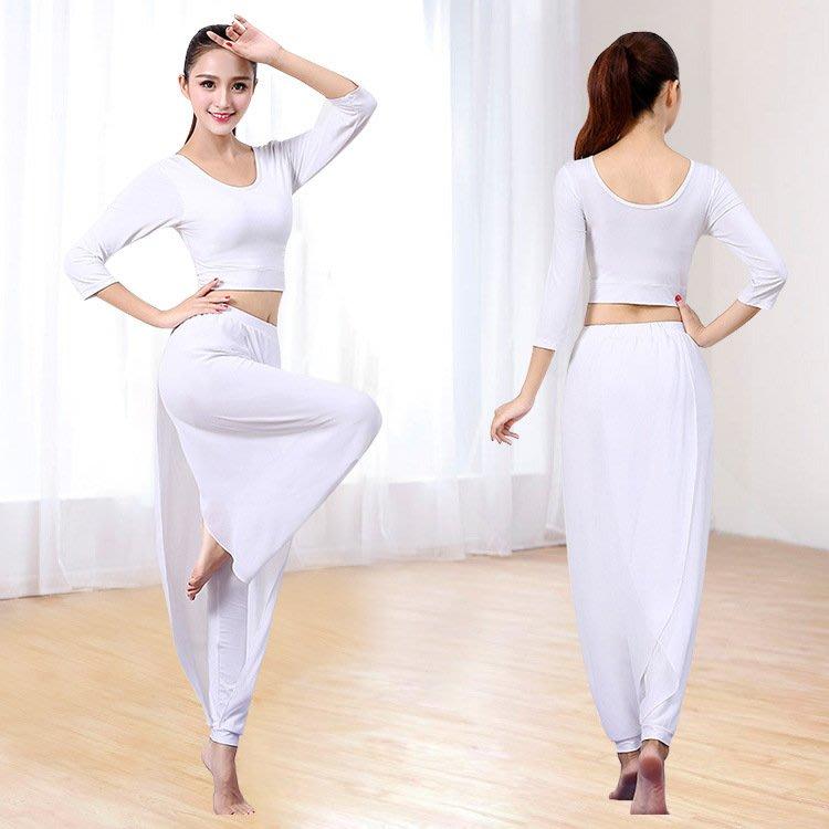 窩美白色瑜伽服雪紡瑜伽服套裝 舞蹈健身服女露臍上衣雪紡飄逸