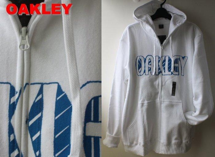 特價【美國知名運動品牌 OAKLEY】100% 全新正品 一般 合身款 長袖 連帽 外套/ 白色*660VT*【L】
