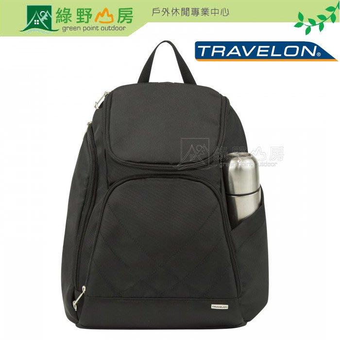 《綠野山房》Travelon 美國 RFID 防盜 經典防盜後背包 出國 旅遊防搶 可卸式LED燈 黑 TL-42310