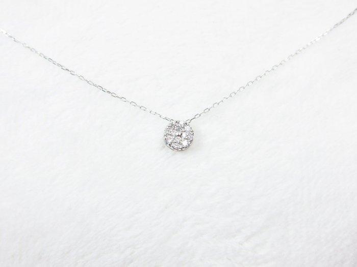 日本18K 圓形鑽石項鍊【元圓珠寶】