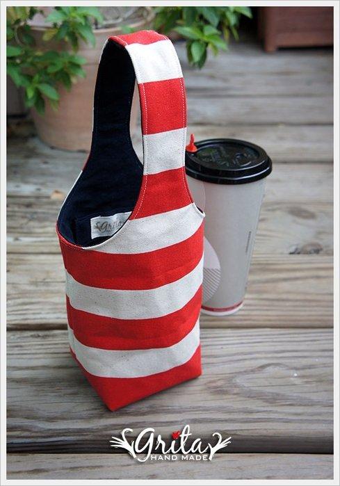 ♥grita's handmade♥手作環保飲料提袋/手搖杯/環保杯袋/隨身提包/帆布包—紅白條紋(現貨)