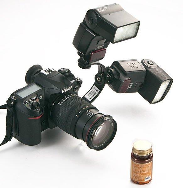 呈現攝影-閃光燈支架 C型支架 金屬圓弧支架 半圓型 閃燈架 雙燈 攝影燈 麥克風 觸發器