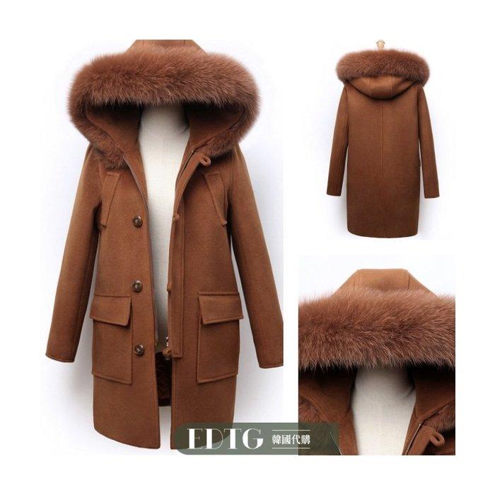 【  EDTG   】S~XL柔軟真毛51%羊毛呢大衣拉鍊款 牛角釦外套物超所值~