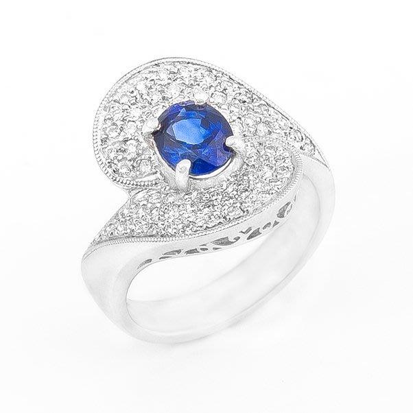 【JHT 金宏總珠寶/GIA鑽石專賣】1.17ct天然藍寶鑽戒/材質:14K(S00002)