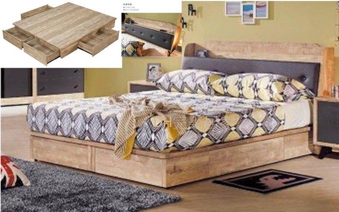 【DH】貨號D53名稱《天閣》工業風5尺床檯(圖一)含四抽床底.床頭箱附插座.備有3.5尺可選台灣製可訂做主要地區免運費