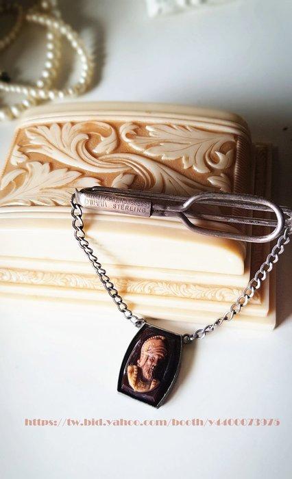 妍媽咪ㄉ西洋古董 ~1950 純銀 羅馬戰士 領帶夾/衣夾 ~ Vintage 復古 古著 懷舊