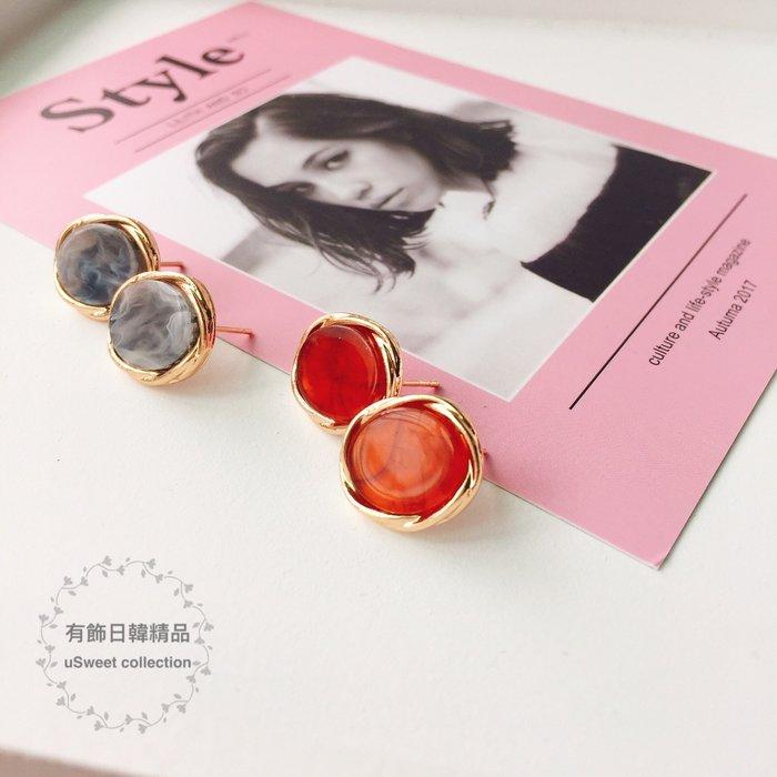 【有飾日韓精品】東大門幾何金屬風復古圓形氣質輕熟耳環