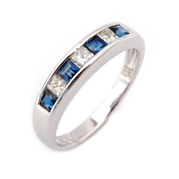 【JHT 金宏總珠寶/GIA鑽石專賣】0.55ct天然藍寶鑽石線戒/材質:14K/(JB20-A08)