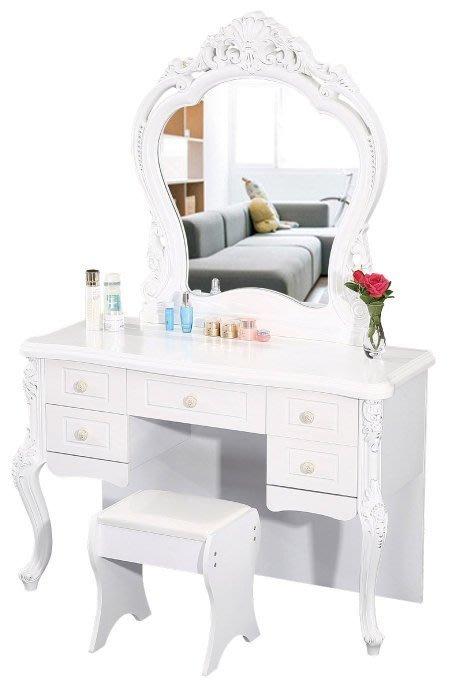 【DH】商品貨號【DH】商品貨號N594-5商品名稱《約洛特》4尺白色化妝檯/含椅。手工雕刻/歐風時尚。主要地區免運費