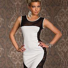 夜店側邊摟空蕾絲透明網布拼接撞色修身洋裝包臀連身裙 N171