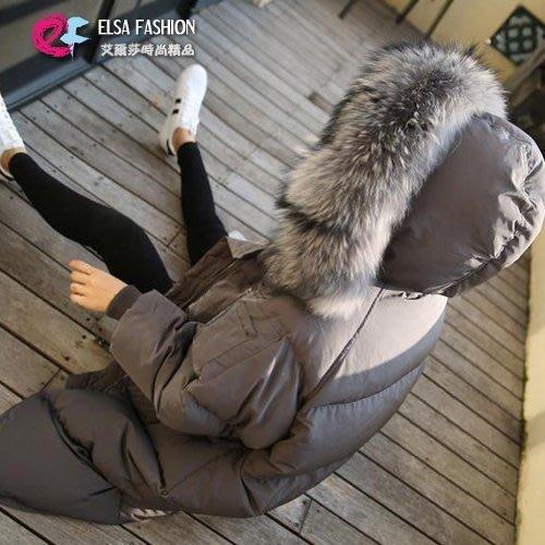 羽絨棉外套 保暖首選時尚超大毛領大外套 艾爾莎【THH00015】