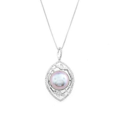 【JHT 金宏總珠寶/GIA鑽石專賣】12mm天然黑珍珠鑽墜/材質:18K(PP00061)
