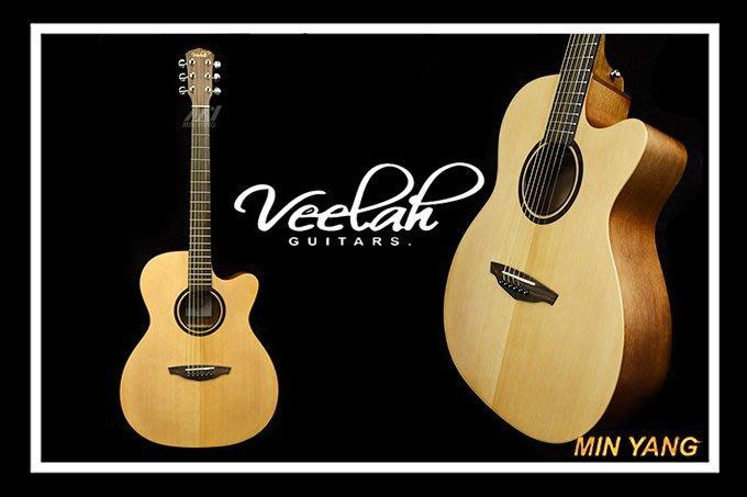 【民揚樂器】 民謠吉他 Veelah V1-OMC 雲杉面單 側背桃花心木 附原廠袋