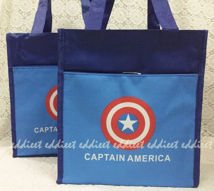 ~朵朵童包~美國隊長 兒童 彩印 手提袋 便當袋 外出袋  性高