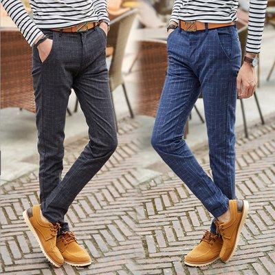 【大碼型男】韓版新款 英倫風格紋棉麻長褲 小直筒 休閒褲   3-519