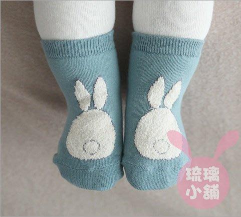 《琉璃的雜貨小舖》韓國 可愛兔子珊瑚絨拼接兒童襪 嬰兒襪 防滑襪 地板襪