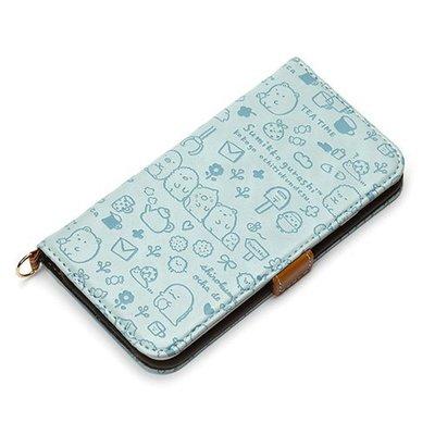 尼德斯Nydus~* 日本正版 San-X 角落生物 翻頁皮套 可放卡片 手機殼 4.7吋 iPhone 6/6S 淺藍