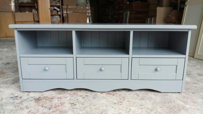 美生活館 客訂鄉村工業 家具 紐松原木 鐵灰色 三抽三格電視櫃 收納櫃 置物櫃 也可修改尺寸顏色