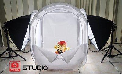 YIDA新型-無影罩LED攝影棚燈60cm-小攝影棚雙燈組+攝影燈泡+四色背景布+提袋 -LED601