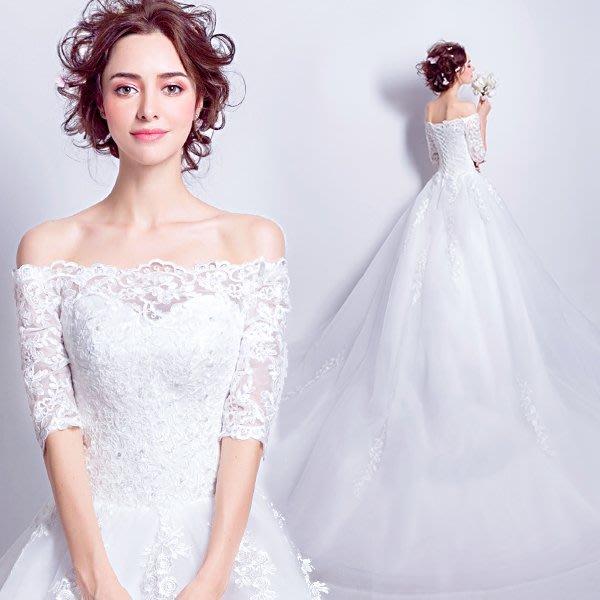 【曼妮婚紗禮服】3件免郵~結婚婚紗禮服  澎澎裙拖尾款婚紗禮服~A070