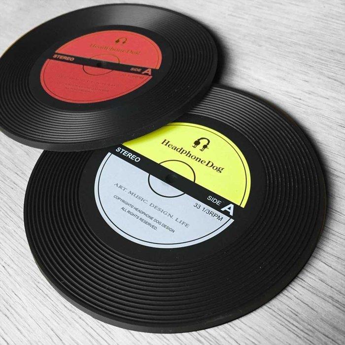 唱片造型矽膠隔熱杯墊/杯蓋(一組2入)雙色
