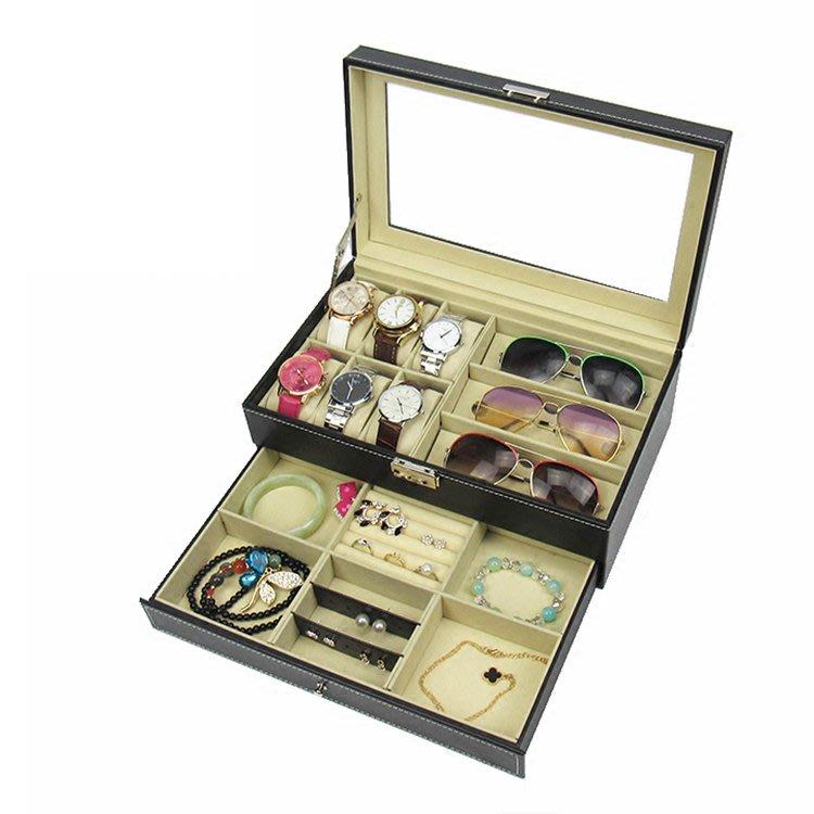 天窗手錶眼鏡墨鏡多用收纳盒(雙層) 眼鏡墨鏡太陽鏡展示盒收藏盒