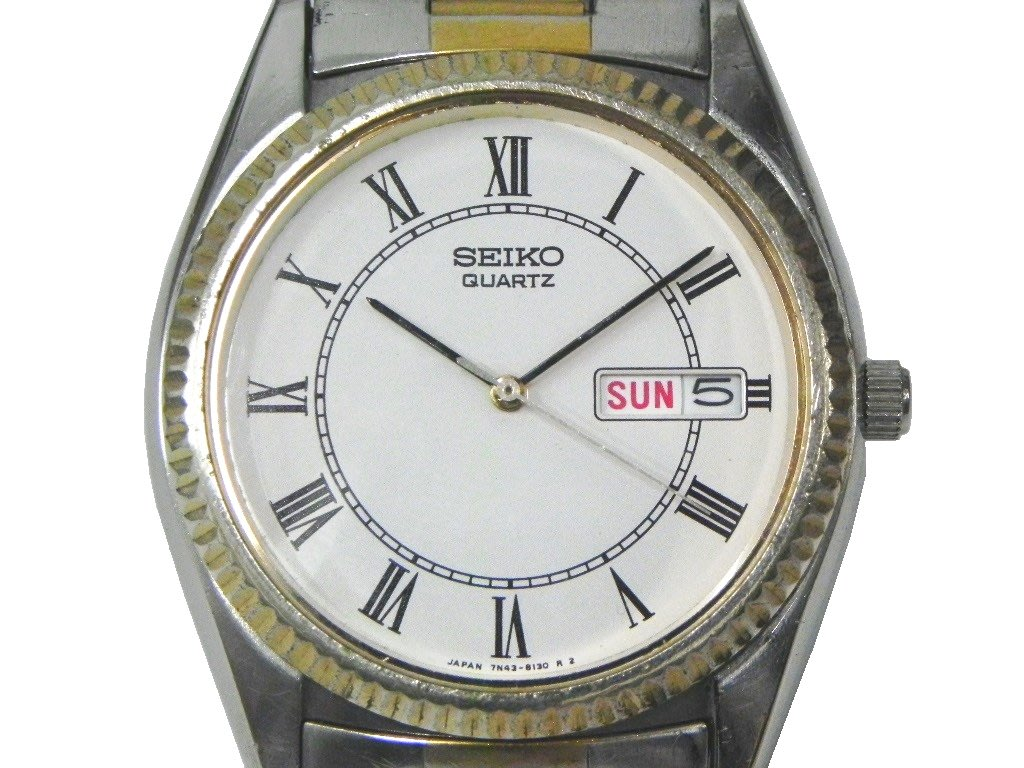 [專業模型] 石英錶 [SEIKO 373354] 精工半金石英錶[羅馬字][白色面]軍錶/石英/時尚錶[保固90天]