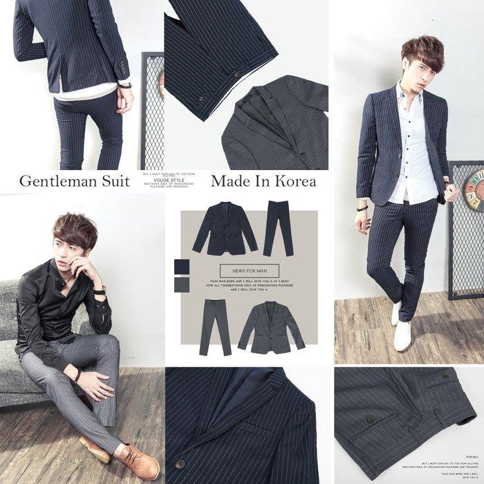 。SW。【K32120】韓雅痞感 修身顯瘦 質感 硬挺彈性西裝布 仿木紋扣 條紋 窄版紳士西裝褲 英倫