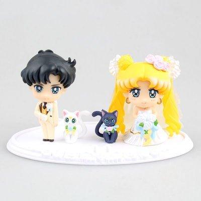 【紫色風鈴3】美少女戰士地場衛月野兔婚慶蛋糕公仔盒裝擺件模型 港版