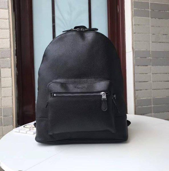 我愛名牌COACH包~美國100%正品【清倉低價出售購買兩件免運】23247新款素面全皮顆粒紋牛皮 後背包 雙肩包 黑色