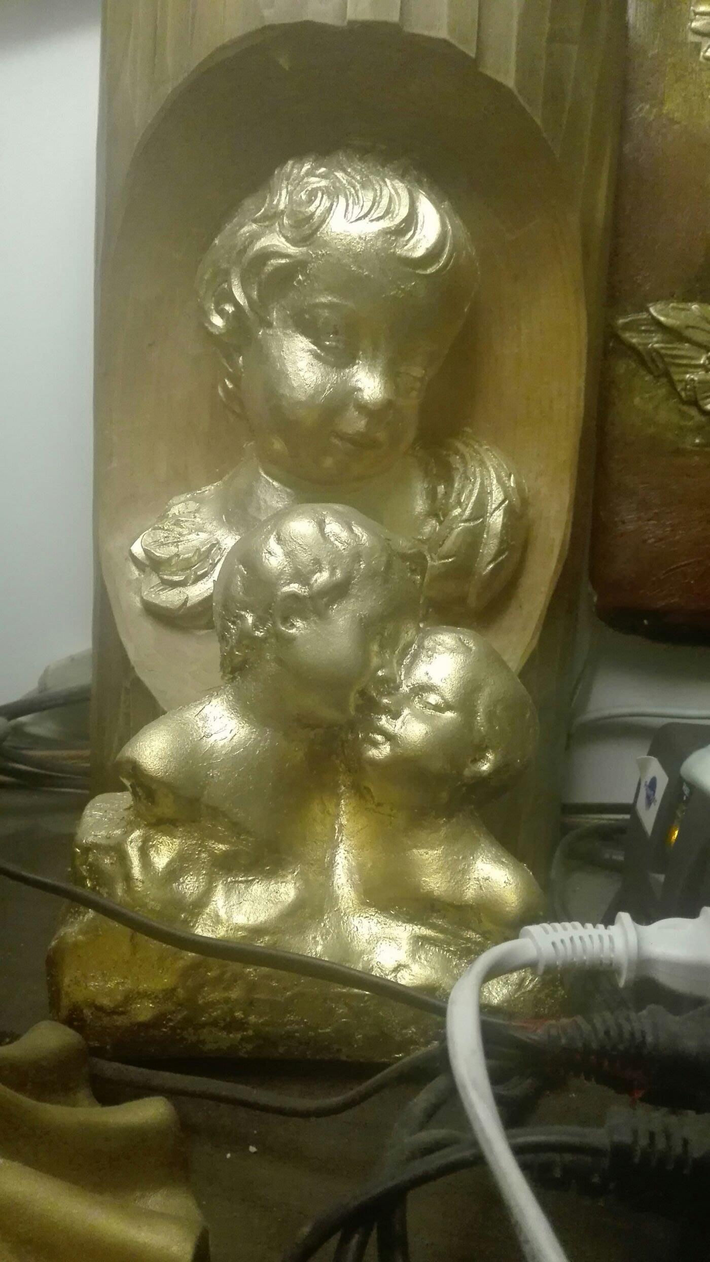 銅雕 雙天使  貼98金箔 4萬2