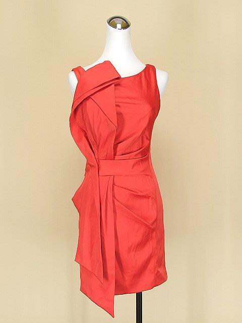 ◄貞新►KAREN MILLEN 英國品牌 辣椒紅圓領無袖緞面洋裝 M(36)號(48466)