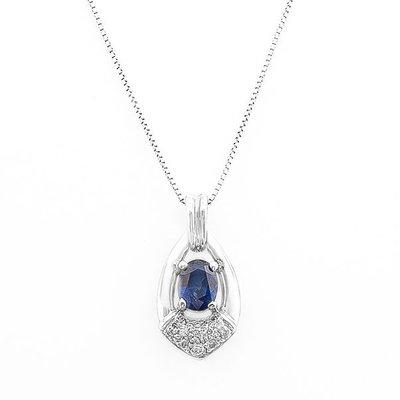 【JHT 金宏總珠寶/GIA鑽石專賣】1.43ct天然藍寶鑽墜/材質:14K(S00026)