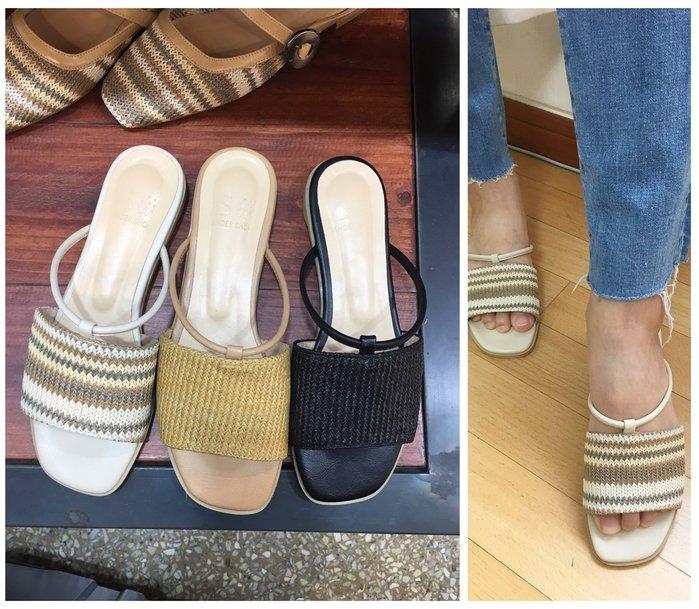 正韓【Meet Shop】Jul-40 度假風繽紛色系編織紋涼拖鞋 彩色 卡其白 黃色 黑色