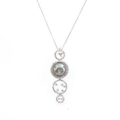 【JHT金宏總珠寶/GIA鑽石專賣】12.4MM天然黑珍珠藍寶鑽墜/材質:14K(PP00050)