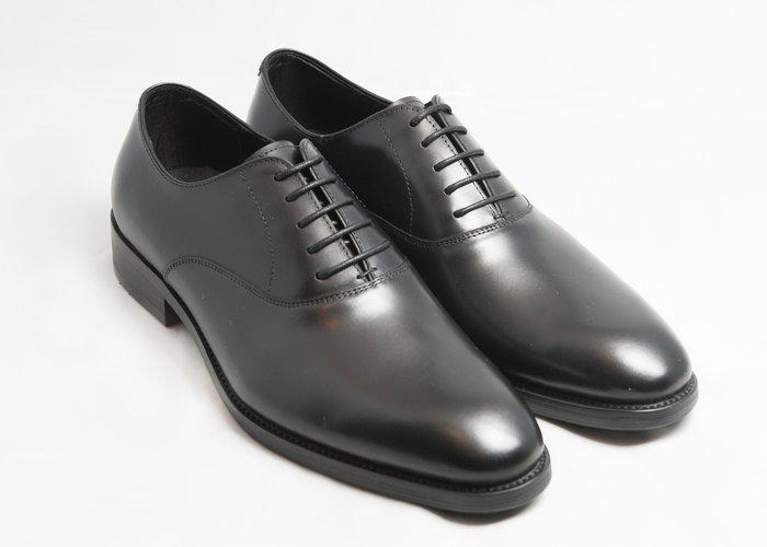 素面牛津鞋:手工上色小牛皮真皮木跟皮鞋男鞋-黑色-免運費-[LMdH直營線上商店]E1A17-99