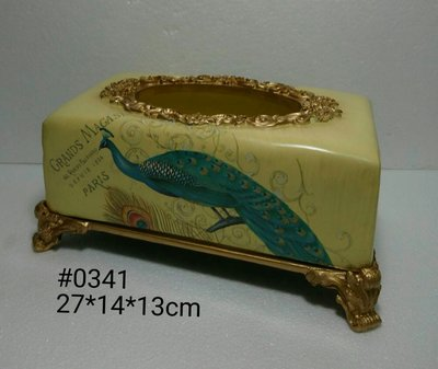 美生活館--- 全新 古典 高溫陶 長方型 金色 仿舊雕刻 孔雀花朵 淺黃色 面紙盒/收納盒