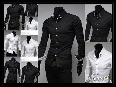 【AIMANUY-艾曼妞服飾】【35現貨+預購】韓版男款白色時尚包邊條紋內襯男修身休閒黑色長袖襯衫N27