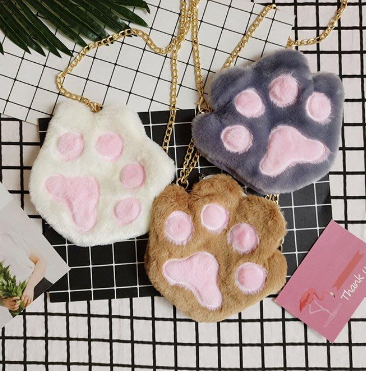 可愛貓爪鏈條斜挎小包 日系毛絨 萌貓爪 毛毛包 小包 單肩包 包包