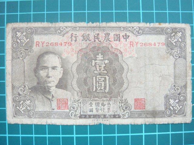 民國30年德納羅印鈔公司(中國農民銀行壹元).品項如圖1